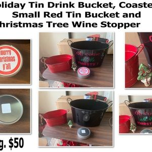 Brand New-Holiday Tin Bucket and Other Misc. Items